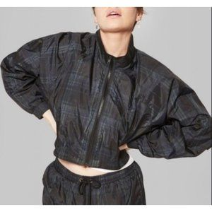 Wild Fable Plaid Cropped Windbreaker Jacket XS